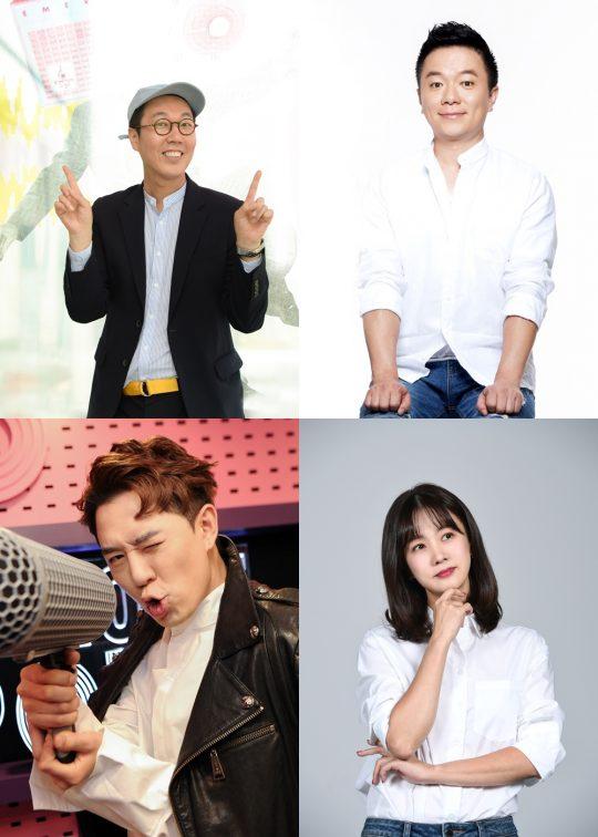 SBS 라디오 프로그램을 맡고 있는 DJ 김영철(왼쪽부터 시계방향), 김태균, 박소현, 붐