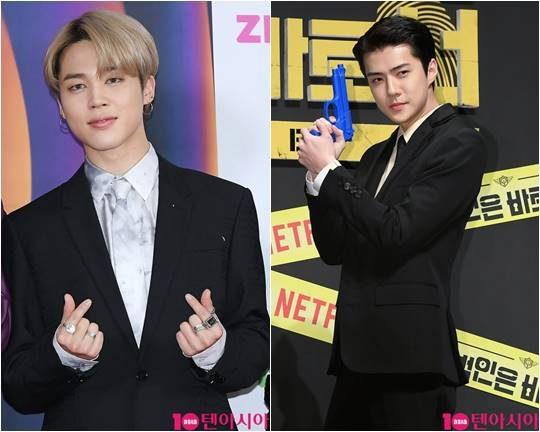 그룹 방탄소년단의 지민(왼쪽), 엑소의 세훈./ 텐아시아 DB