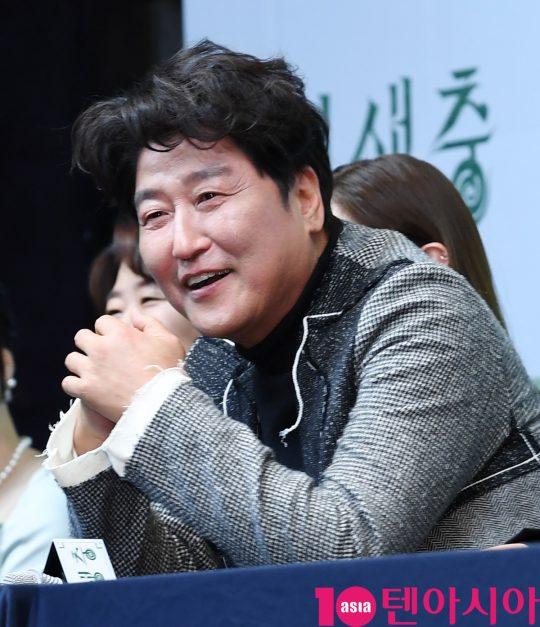 배우 송강호가 19일 오전 서울 소공동 웨스틴조선호텔에서 열린 영화 '기생충' 기자회견에 참석했다. /조준원 기자 wizard333@
