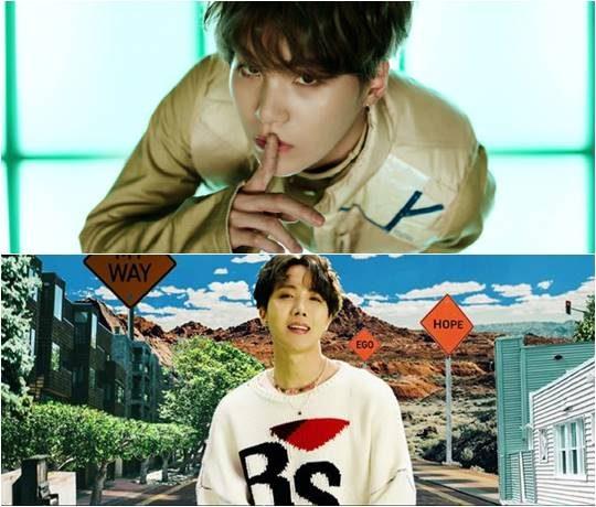 방탄소년단의 슈가(위), 제이홉/ 사진=각 컴백 트레일러 캡처