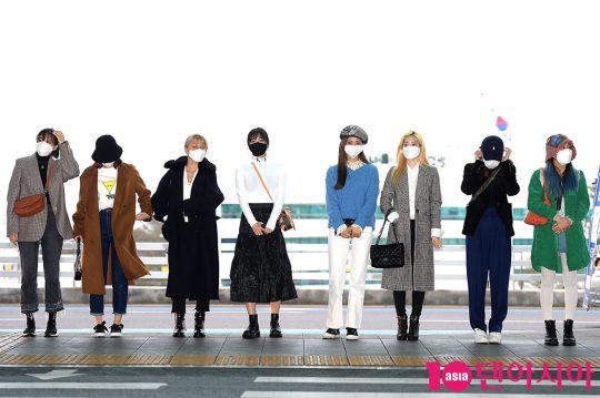 그룹 트와이스 정연(왼쪽부터), 사나, 지효, 모모, 쯔위, 다현, 나연, 채영