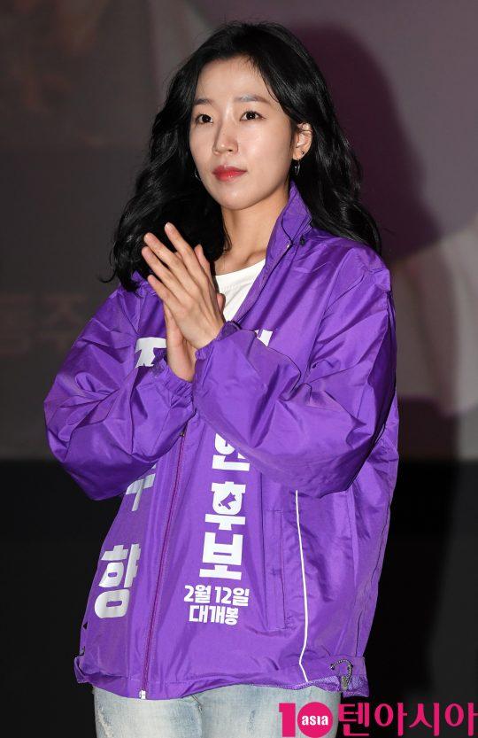 배우 조수향이 22일 오후 서울 방화동 롯데시네마 김포공항점에서 열린 영화 '정직한 후보' 무대인사에 참석했다.