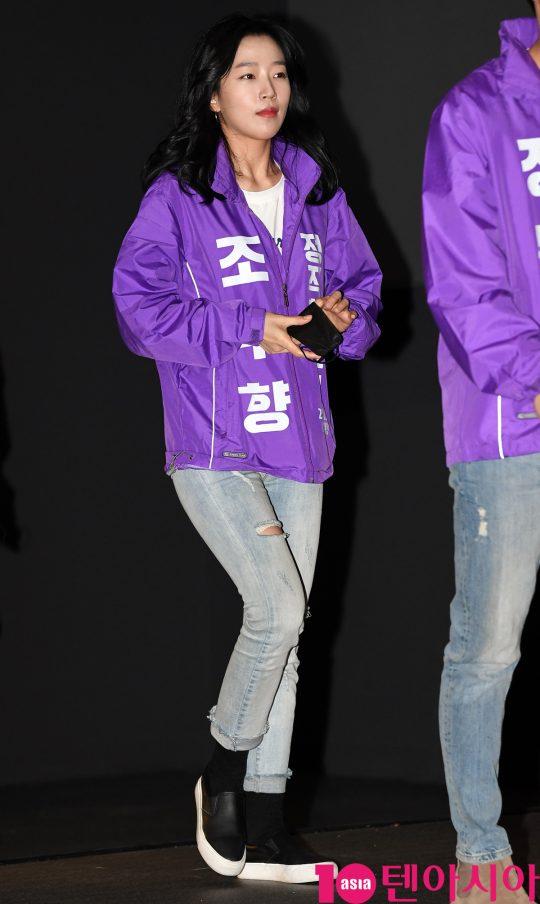 배우 조수향이 22일 오후 서울 방화동 롯데시네마 김포공항점에서 열린 영화 '정직한 후보' 무대인사에 참석하고 있다.