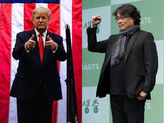 도널드 트럼프 미국 대통령과 '기생충'의 봉준호 감독. /사진=인스타그램, CJ엔터테인먼트