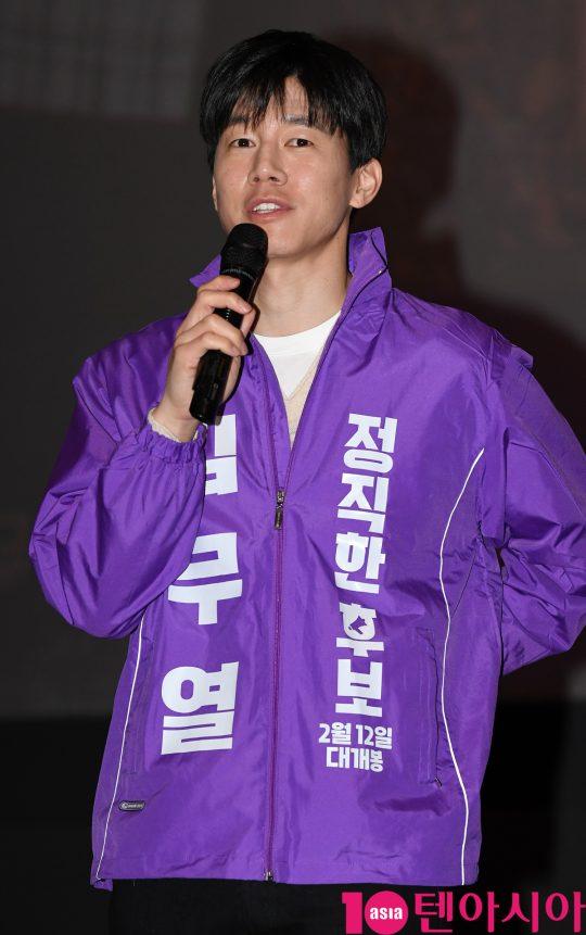 배우 김무열이 22일 오후 서울 방화동 롯데시네마 김포공항점에서 열린 영화 '정직한 후보' 무대인사에 참석하고 있다.