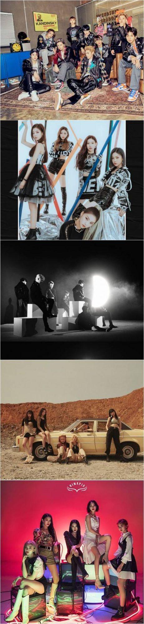 그룹 NCT 127(위부터), 있지, 빅톤, (여자)아이들, 희나피아./ 사진제공=SM·JYP·플레이엠·큐브· OSR 엔터테인먼트