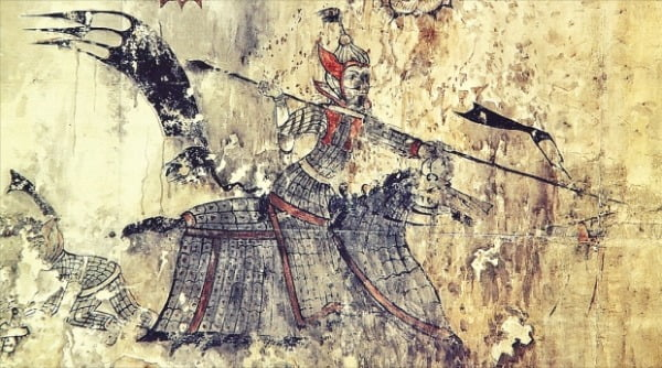 중국 지안 통구 12호분에서 발견된 개마무사 그림. 갑옷을 두른 말을 탄 무사가 장창을 들고 있다.