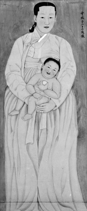 아이를 안고 있는 여인 전신상을 그린 '운낭자상'.   국립중앙박물관 소장