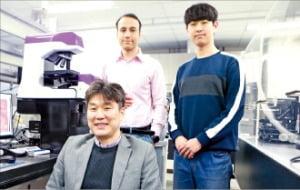 문인규 DGIST 교수(맨 앞)팀이 약물을 투여한 심장세포의 분석 기법을 설명하고 있다.   /DGIST 제공