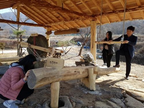 [카메라뉴스] 괴산 청안면에 복원된 디딜방아·연자방아