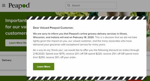 미국 온라인 식료품점 '피포드' 중서부서 사업 중단