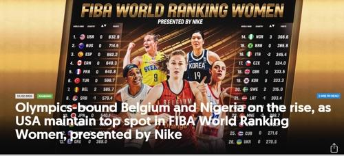 한국 여자농구, 세계랭킹 19위 유지…올림픽 출전국 중 11번째