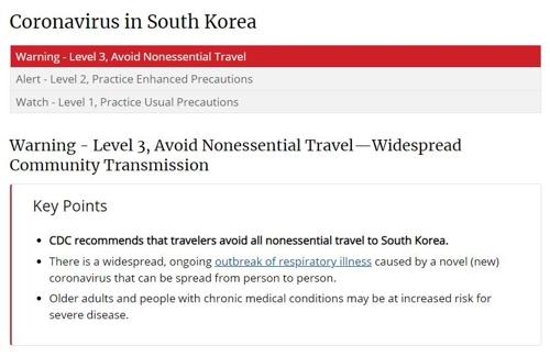 미국 CDC, 한국 여행경보 최고단계로 격상…중국 이어 두번째(종합)