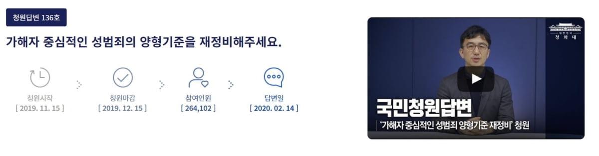 """靑 """"성범죄 엄정 대응 기조 강화""""…국민청원 답변"""