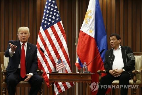 """트럼프, 필리핀 연합훈련 근거협정 종료통보 """"신경안써, 돈절감""""(종합)"""