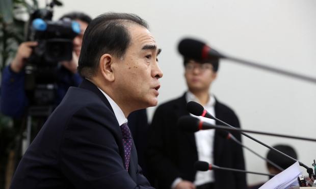 자유한국당 총선 지역구 출마를 공언한 태영호 전 영국주재 북한공사가 16일 오후 국회에서 열린 기자간담회에서 발언하고 있다. /연합뉴스