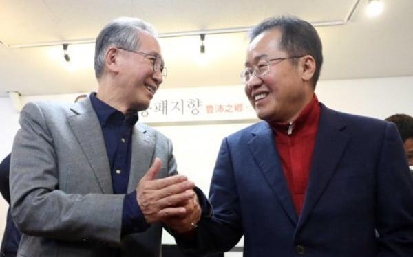 김형오 공관위원장과 홍준표 전 대표. 사진=연합뉴스