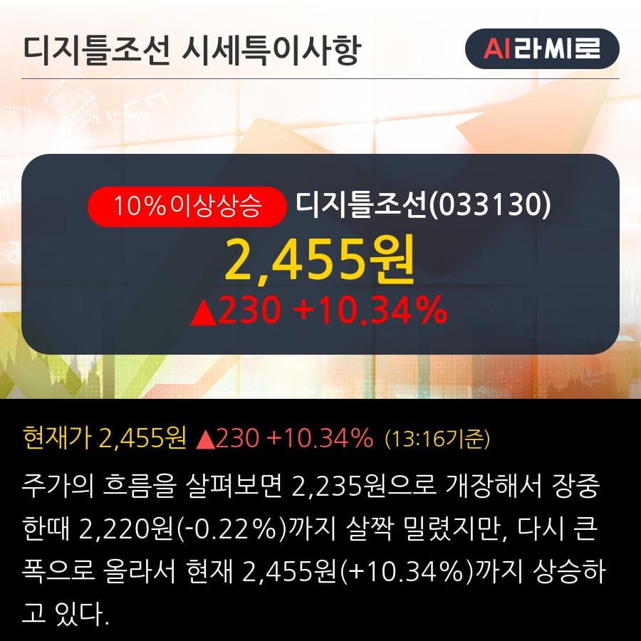 '디지틀조선' 10% 이상 상승, 주가 상승세, 단기 이평선 역배열 구간