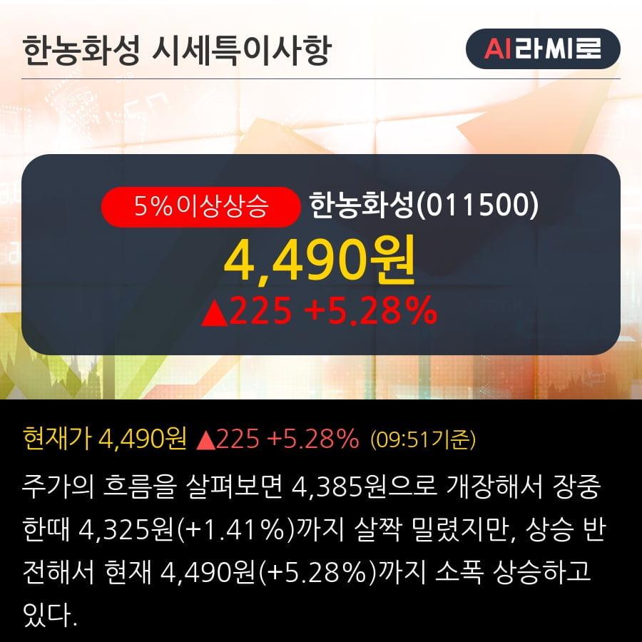 '한농화성' 5% 이상 상승, 2019.3Q, 매출액 523억(-7.1%), 영업이익 41억(+173.3%)