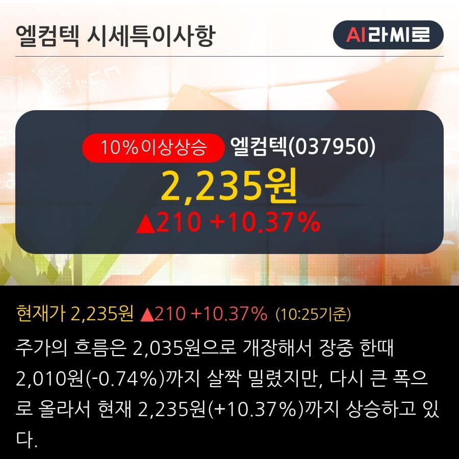 '엘컴텍' 10% 이상 상승, 2019.3Q, 매출액 158억(+32.3%), 영업이익 16억(+17.8%)
