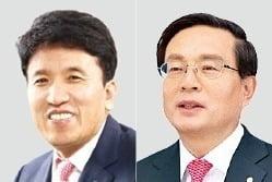 함영주 하나금융지주 부회장(왼쪽)과 손태승 우리금융지주 회장. /사진=한경DB
