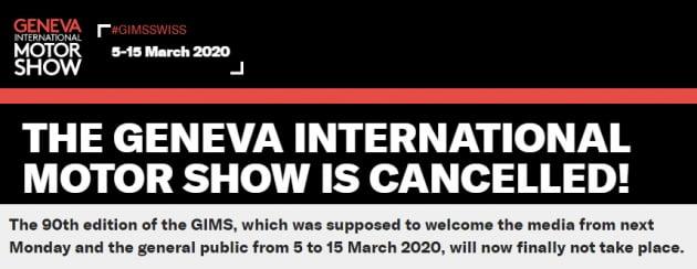 제네바모터쇼 공식홈페이지가 올린 행사 취소 공지문
