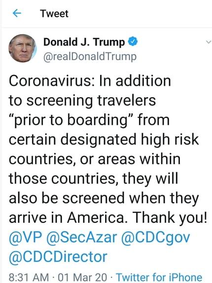 """트럼프 """"코로나 고위험국 여행객, 美 도착 때도 의료검사""""…韓 대상될듯"""