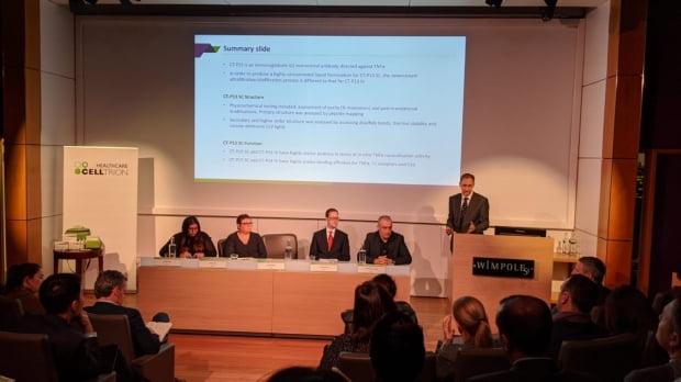 지난 달 27일(현지시간) 영국 런던에서 열린 '램시마SC 런칭 심포지엄'에서 마틴 페리 교수가 강연하고 있다.