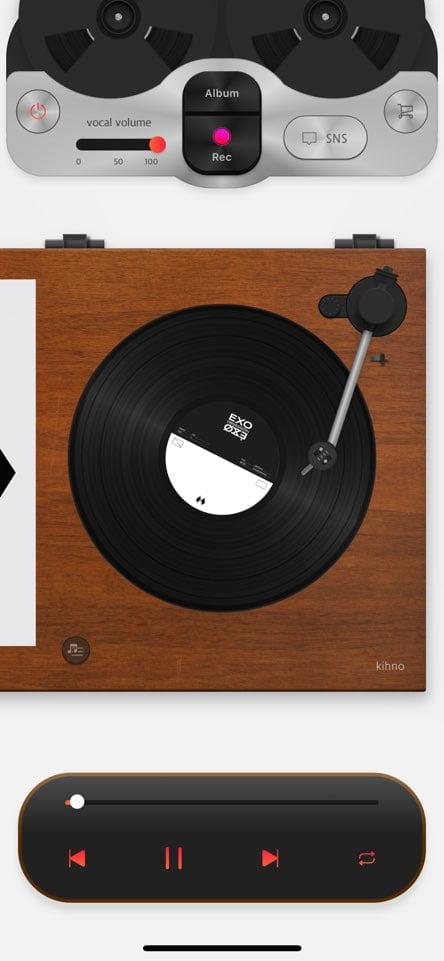 뮤즈라이브의 키트가 앱상에서 LP판 형태로 구현되고 있다. (사진 = 뮤즈라이브)
