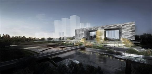 세종시청사 인근에 방죽천변에 들어설 대규모 복합건물 '엠브릿지' 조감도.