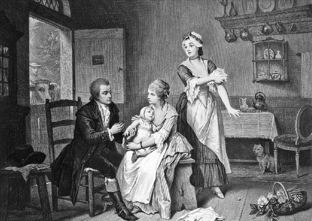 1796년 에드워드 제너가 처음으로 천연두 예방접종을 하는 장면. /미래의창  제공