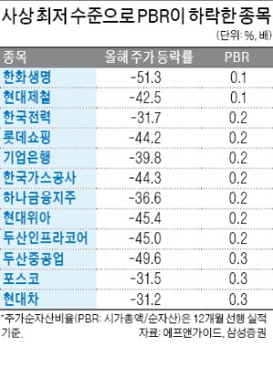 "PBR 0.2배 종목 속출…""정말 싼 값인가"""