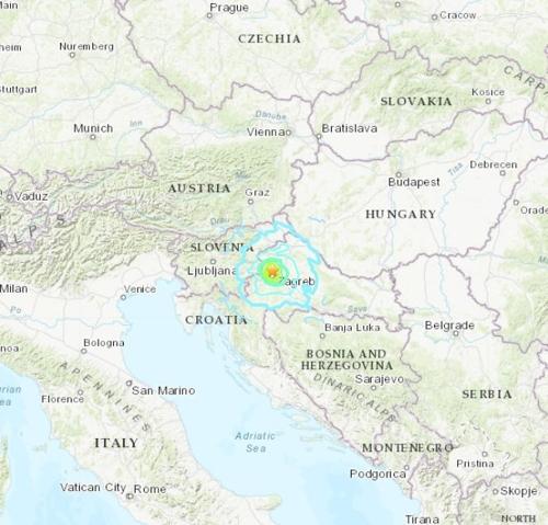 크로아티아 수도 자그레브 북부 산악 지역서 규모 5.4 지진
