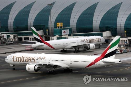 중동 최대 에미레이트항공, 25일부터 모든 여객기 중단