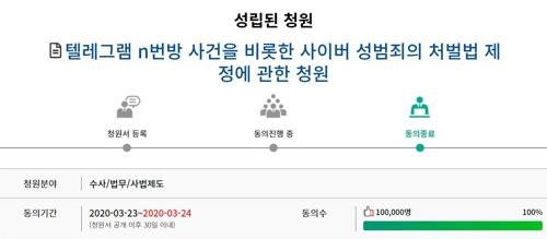 """'n번방 처벌법' 4번째 국민청원 성립…문의장 """"신속 입법 요청""""(종합)"""