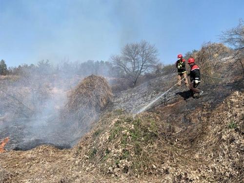 충북 영동 야산서  화재…80대 화상