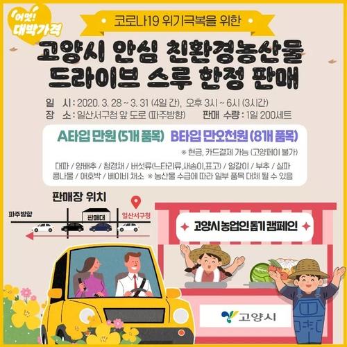 고양시 '농산물 드라이브 스루 안심 판매장' 28일 개장
