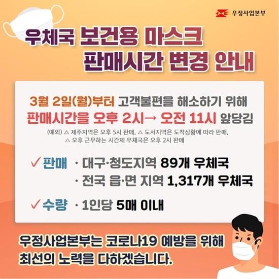 우체국, 2일(내일) 오전 11시 마스크 판매…장당 1000원