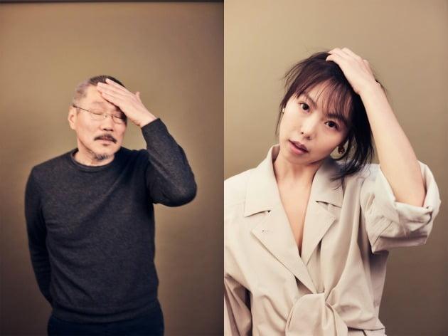 비슷한 포즈로 베를린영화제 프로필 사진을 찍은 홍상수 감독(왼쪽)과 배우 김민희. / 사진=베를린영화제 홈페이지