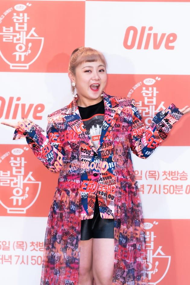 개그우먼 박나래가 4일 오전 생중계된 올리브 새 예능 '밥블레스유2' 제작발표회에 참석했다. /사진제공=CJ ENM