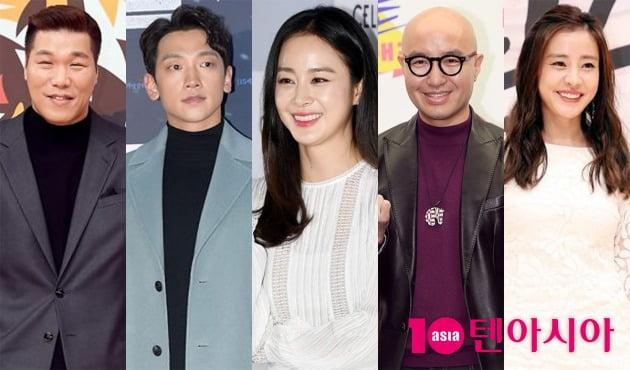 서장훈(왼쪽부터), 비, 김태희, 홍석천, 박은혜 / 사진=텐아시아DB