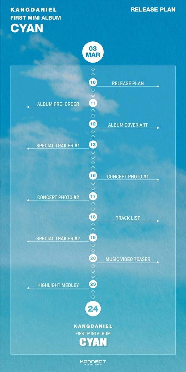 강다니엘 '사이언' 프로모션 릴리즈 플랜 포스터./사진제공=커넥트엔터테인먼트