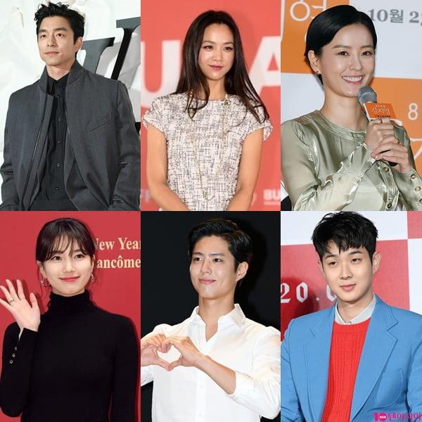 공유(왼쪽부터 시계방향), 탕웨이, 정유미, 최우식, 박보검, 수지./ 사진=텐아시아DB