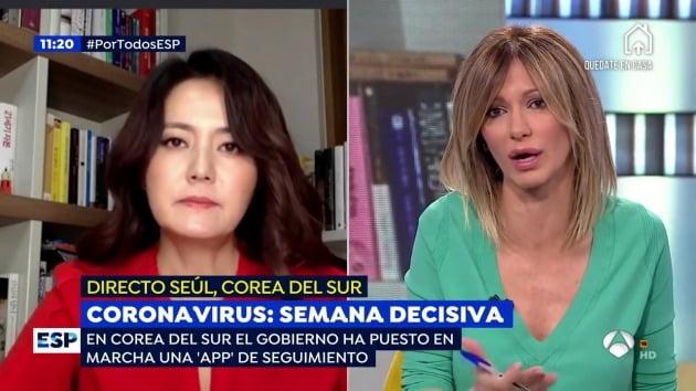 스페인 방송에 출연한 여행작가 손미나 /유튜브 갈무리