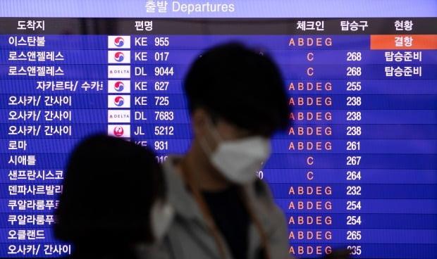 코로나19 여파로 터키행 항공편이 결항된 가운데 인천국제공항 2터미널 출국장 여행객들이 마스크를 쓰고 있다. 사진=연합뉴스