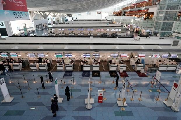 한산한 일본 하네다 공항 출국장 사진=연합뉴스