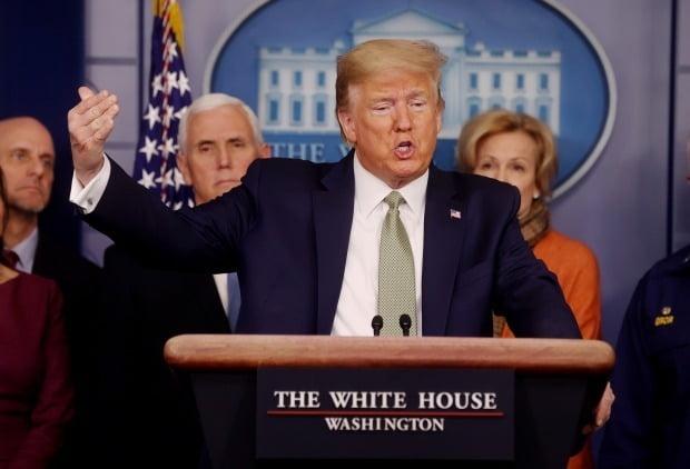 코로나19 관련 기자회견 하는 트럼프 대통령, / 사진=로이터