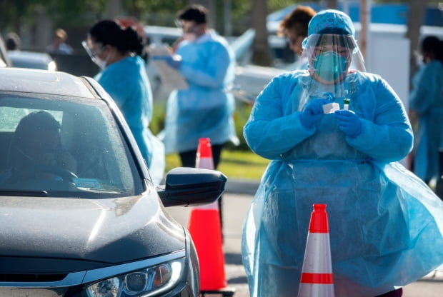 미국 플로리다 주 마이애미에 설치된 신종 코로나바이러스 감염증(코로나19) '드라이브스루' 선별진료소.(사진=EPA=연합뉴스)