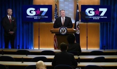 마이크 폼페이오 미 국무장관이 G7 외교장관 화상회의 후 기자회견을 하고 있다. /연합뉴스