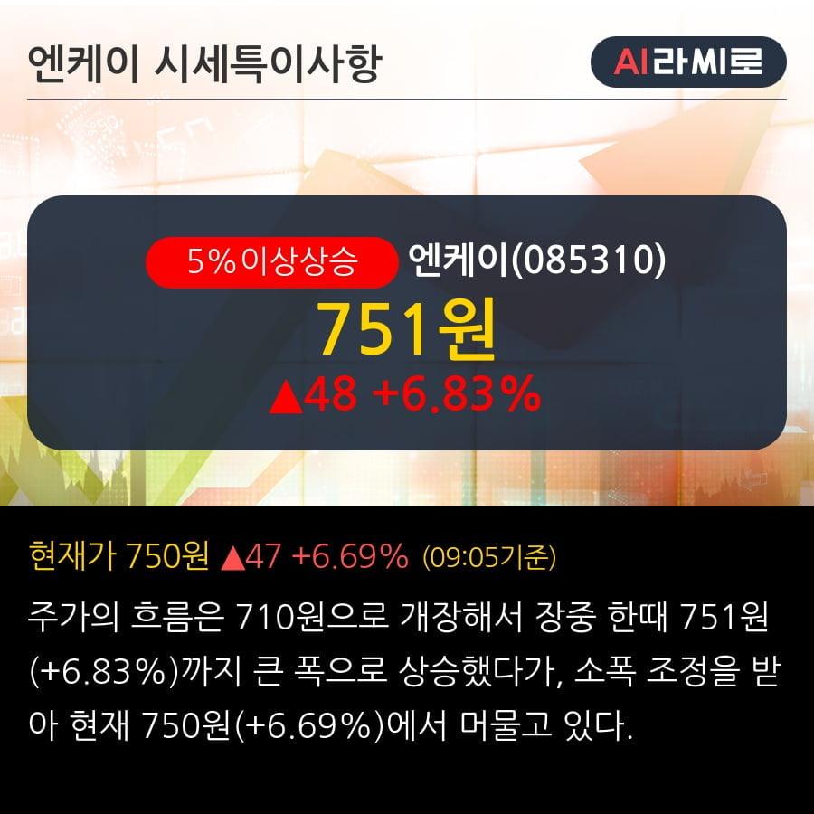 '엔케이' 5% 이상 상승, 주가 20일 이평선 상회, 단기·중기 이평선 역배열